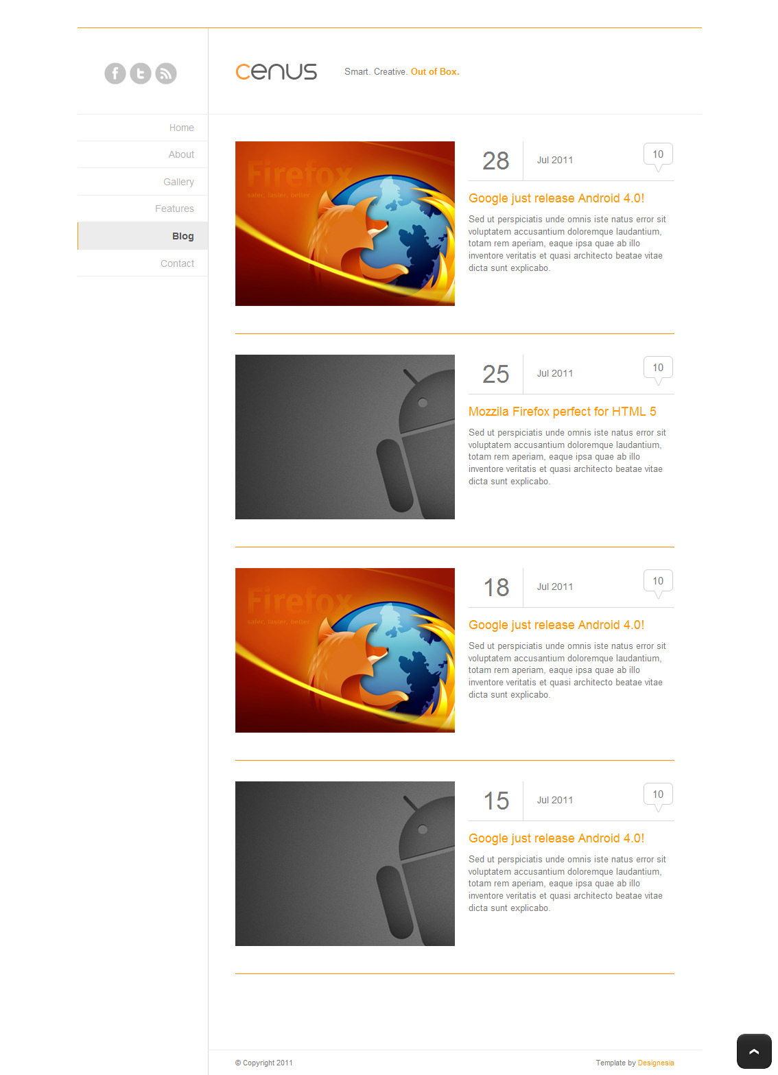 Cenus - Modern Minimalist Website Template