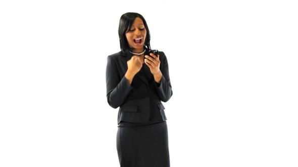 Excited Black Businesswoman Texting