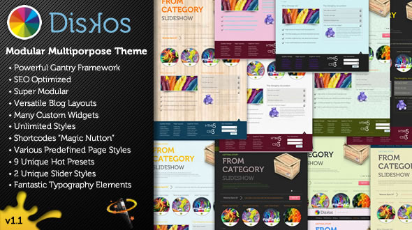 Diskos - Modular Multipurpose WordPress Theme - This is the preview page.   You can see a quick promotional preview of the theme.