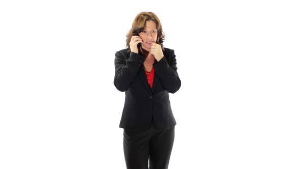 Depressed Businesswoman On Phone