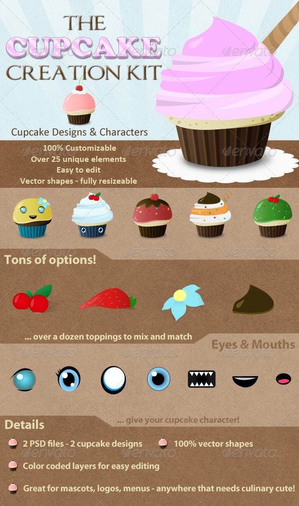 Cupcake Creation Kit - Characters Illustrations