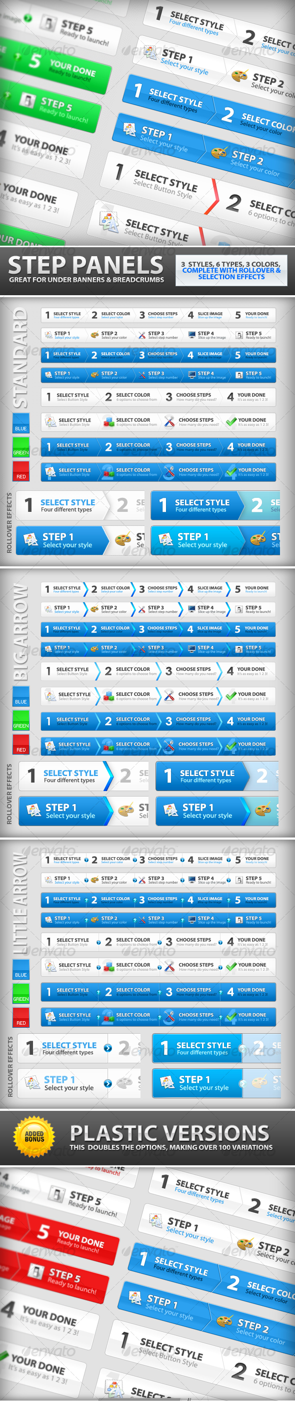 Step Process Panels Mega Set – Over 100 Variations - Web Elements