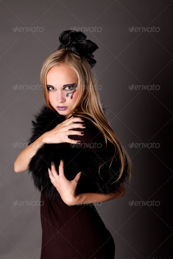 pretty girl makeup as a witch - Stock Photo - Images