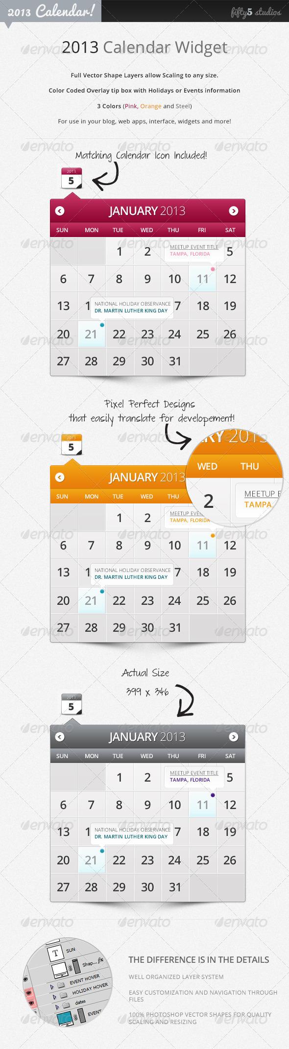 GraphicRiver 2013 Calendar Widget 2720241