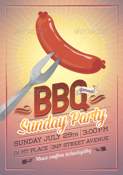 bbq summer party flyer  invitation by tomodachi