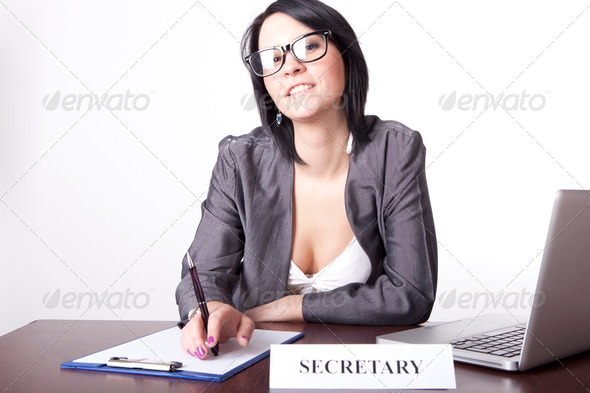 Young attractive secretary - Stock Photo - Images