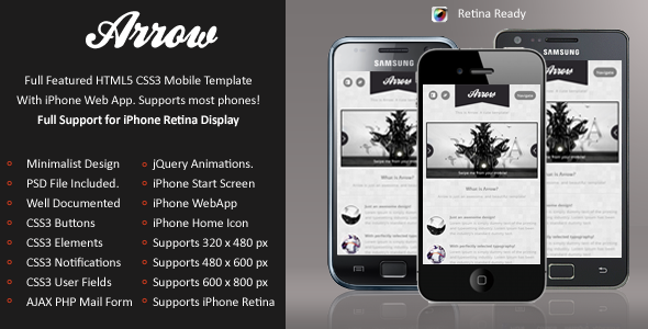 Arrow Mobile Retina | HTML5 & CSS3 And iWebApp