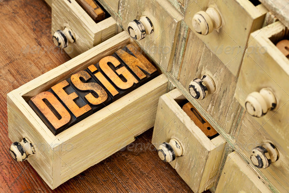 design word - concept in wood type - Stock Photo - Images