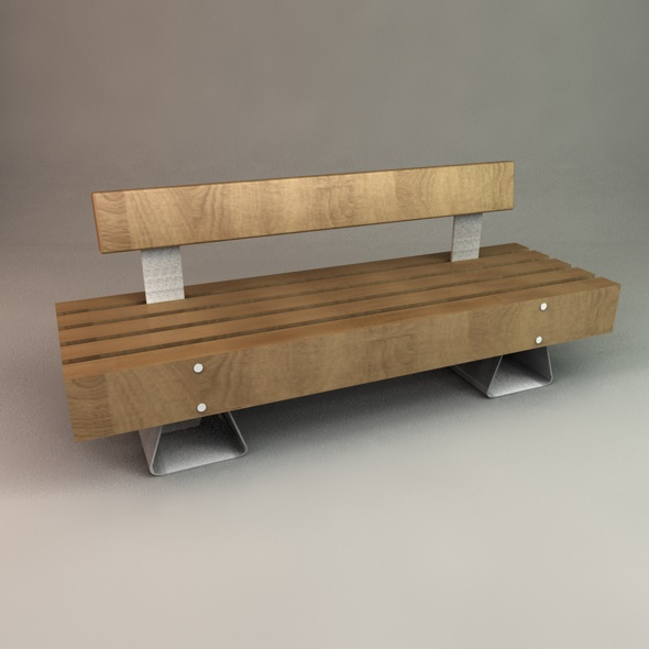 3DOcean Designer Outdoor Bench 98306
