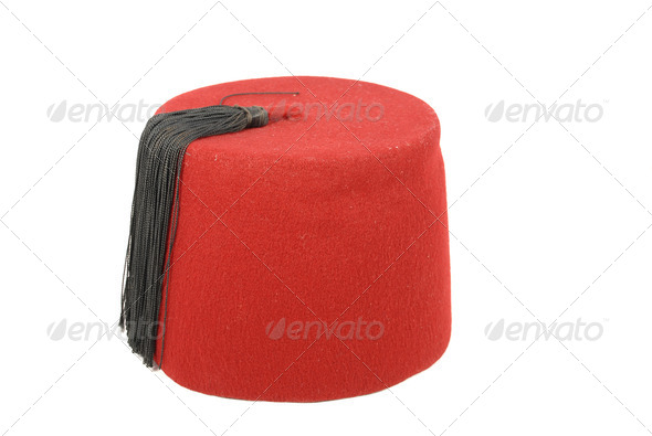 Turkish hat (fez) on a white background - Stock Photo - Images