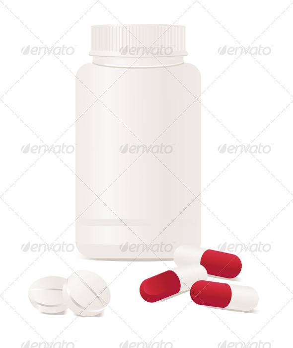 Container with pills. - Characters Vectors