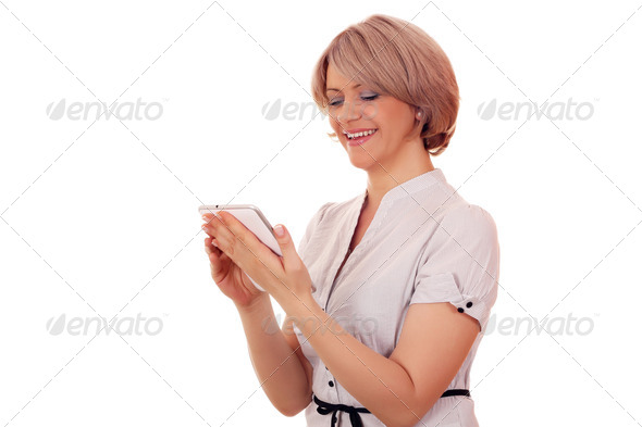 Woman with tablet - Stock Photo - Images