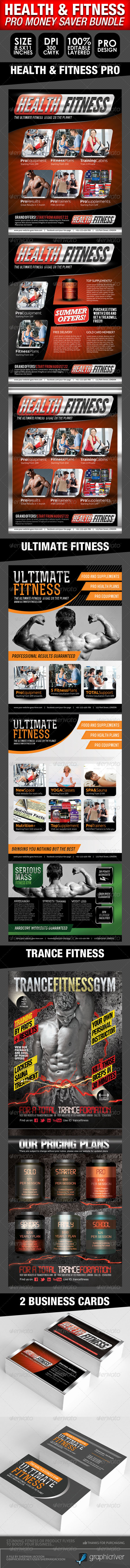 Health, Sports, Fitness Flyer Bundle  - Commerce Flyers