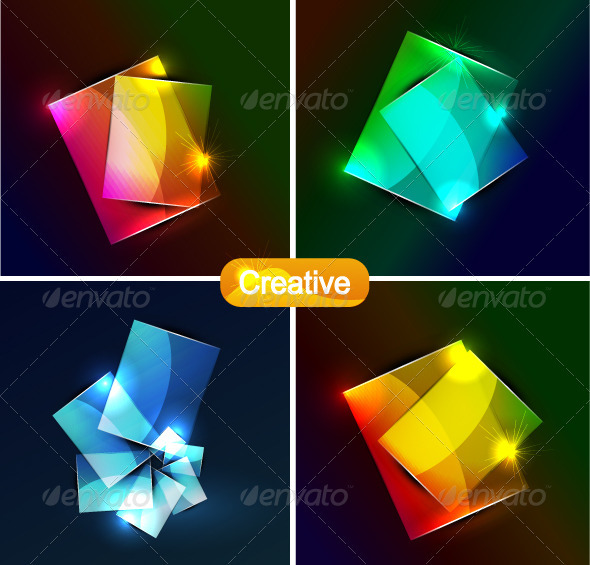 Vector Glowing Web Boxes - Backgrounds Decorative