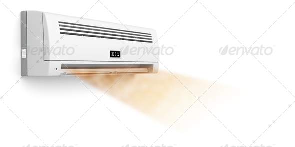 Air conditioner blowing hot air - Stock Photo - Images
