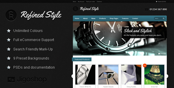 ThemeForest Refined Style Wordpress Jigoshop eCommerce Theme 2729143