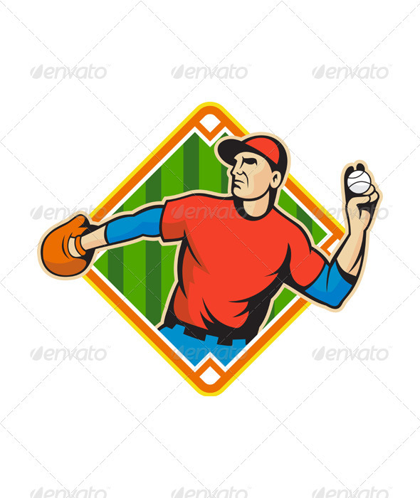 Baseball Player Pitcher Throwing Ball - Sports/Activity Conceptual