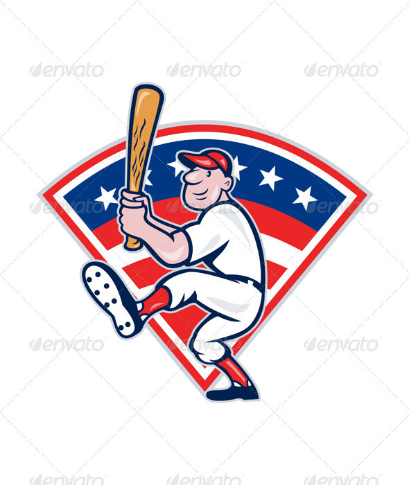 American Baseball Player Batting Cartoon  - Sports/Activity Conceptual