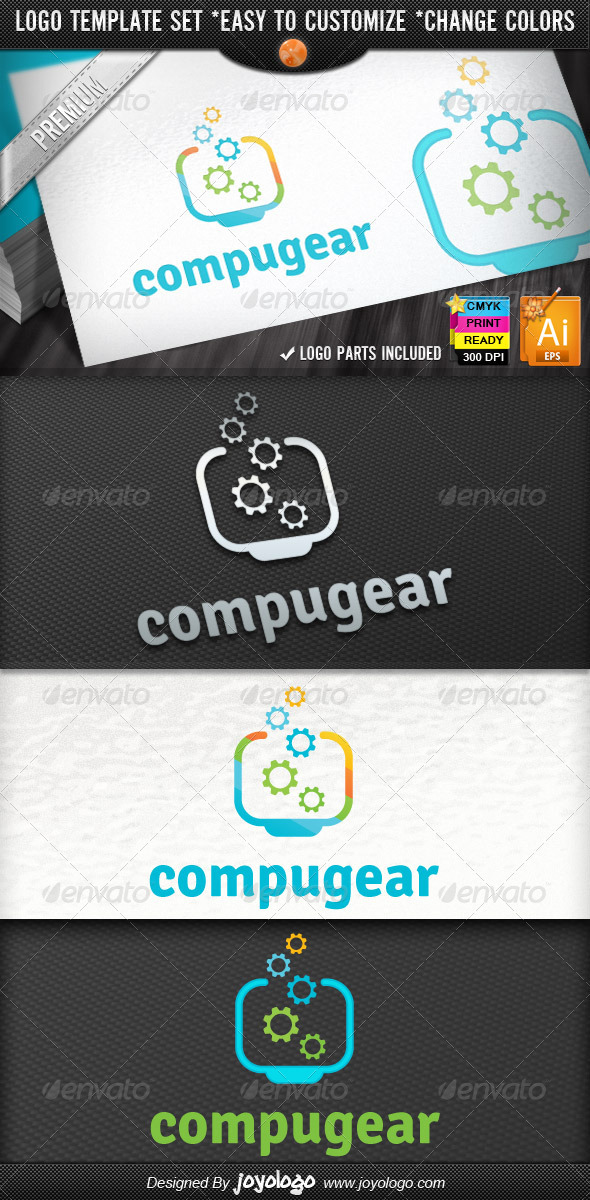 Pixel Gears Computer Repair Service Logo Designs  - Objects Logo Templates