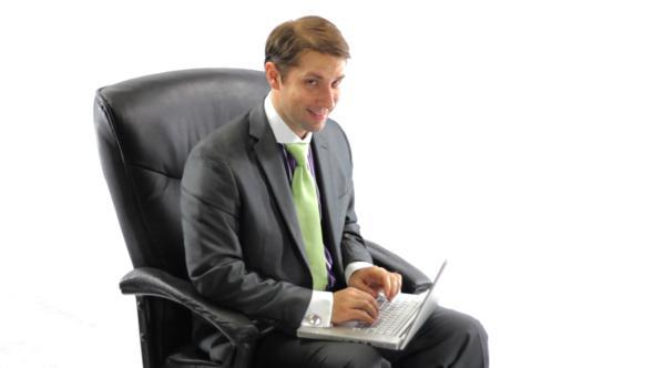 Crazy Businessman With Laptop