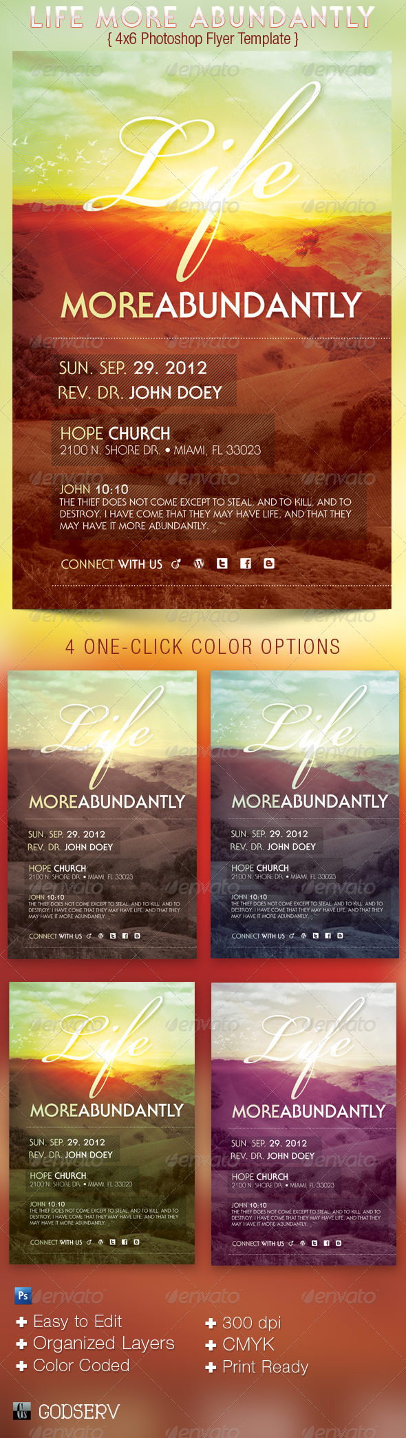 Life More Abundantly 4x6 Church Flyer - Church Flyers