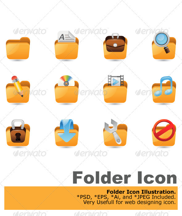Folder Icon Set - Web Elements Vectors