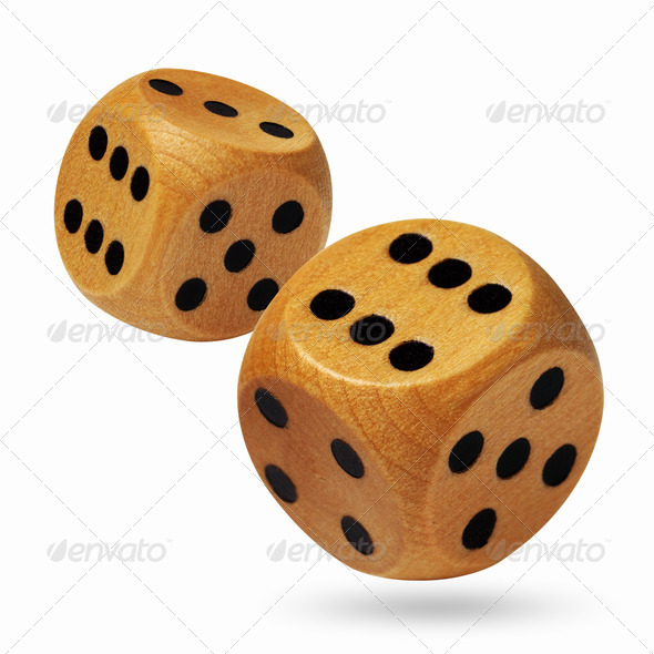 A pair of wooden rolling dices isolated on white - Stock Photo - Images