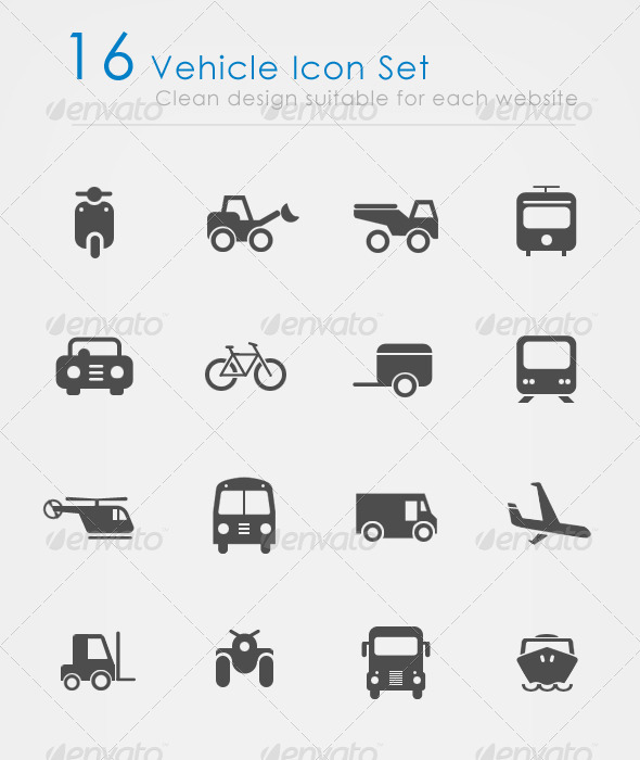 Vehicle Icon Set - Web Icons