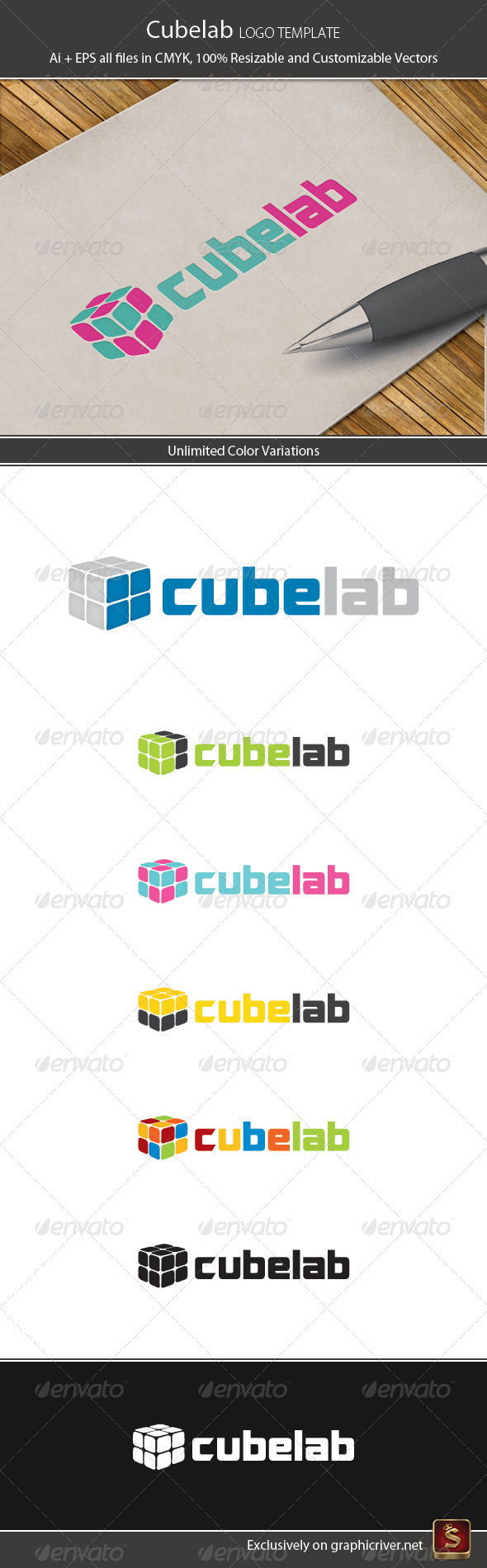 Cube Lab Logo Template - Vector Abstract