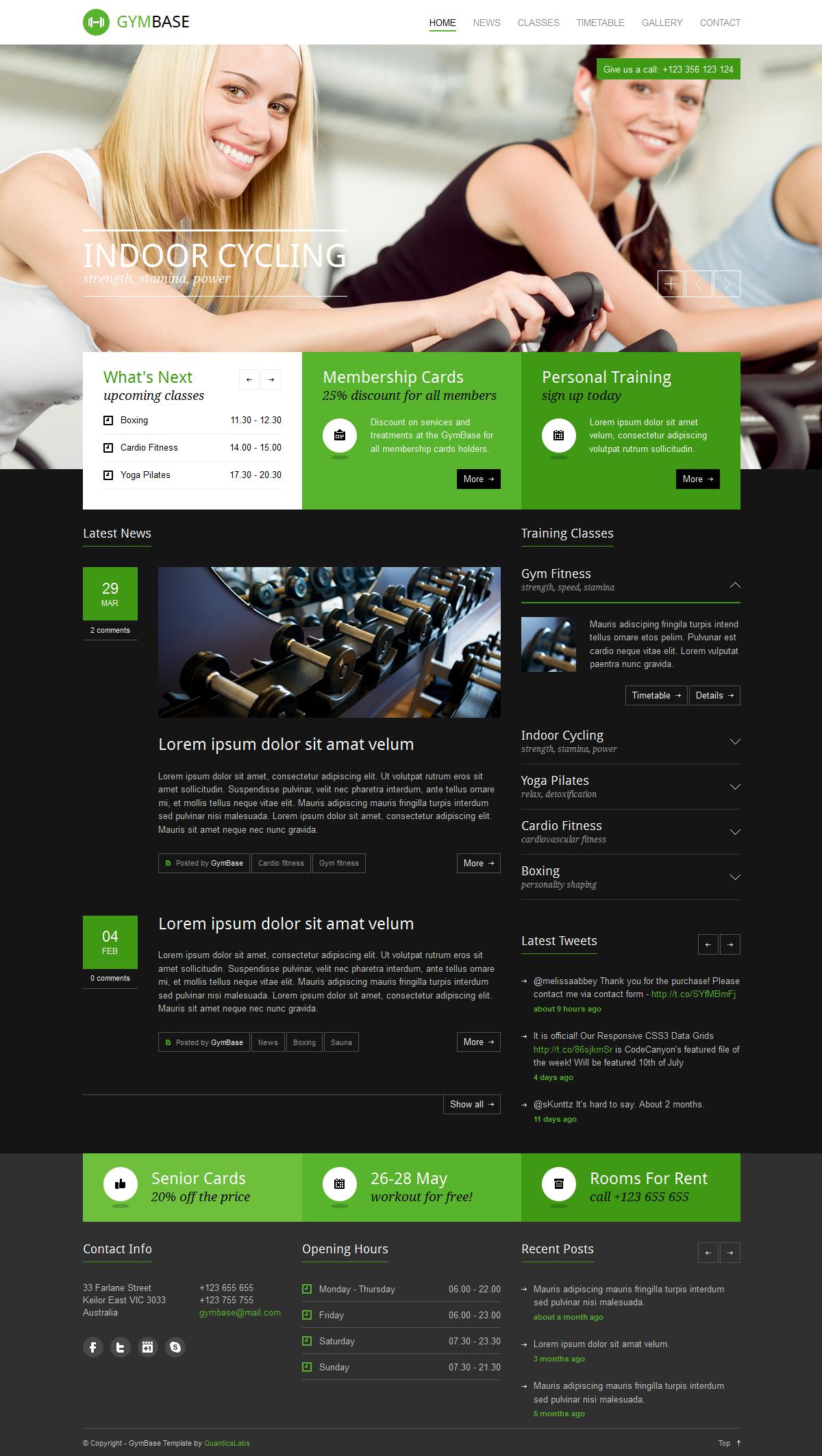 GymBase - Responsive Gym Fitness WordPress Theme