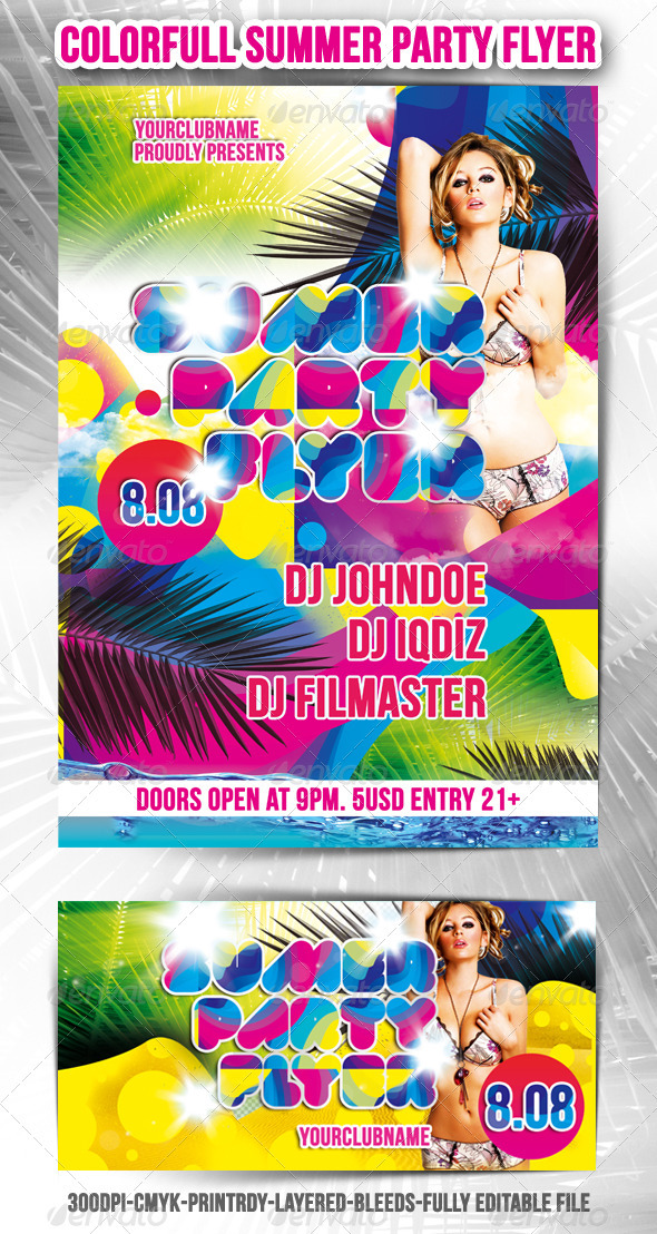 GraphicRiver Colorful Summer Party Flyer 300157