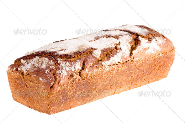 Home-made bread isolated on white background - Stock Photo - Images