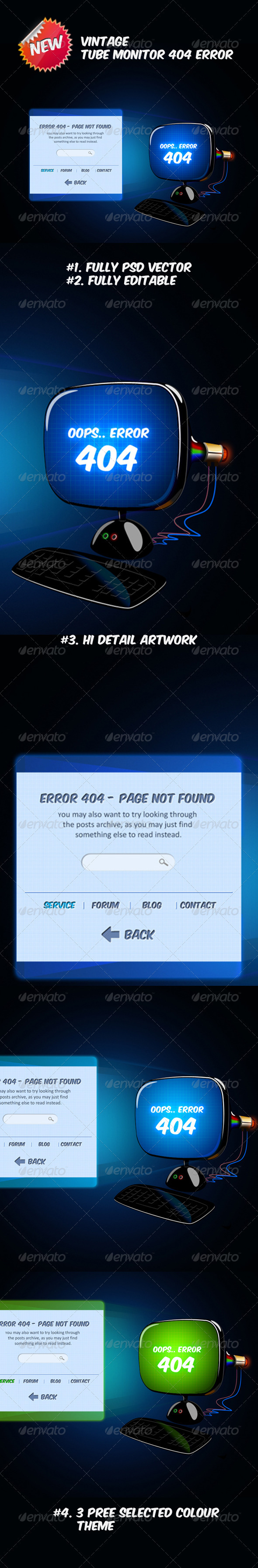 Vintage Tube Monitor 404 Error - 404 Pages Web Elements