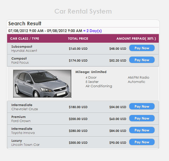 Car Hire Booking System