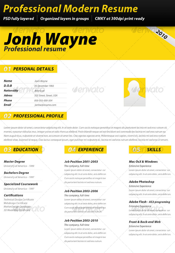 Professional Modern Resume Graphicriver