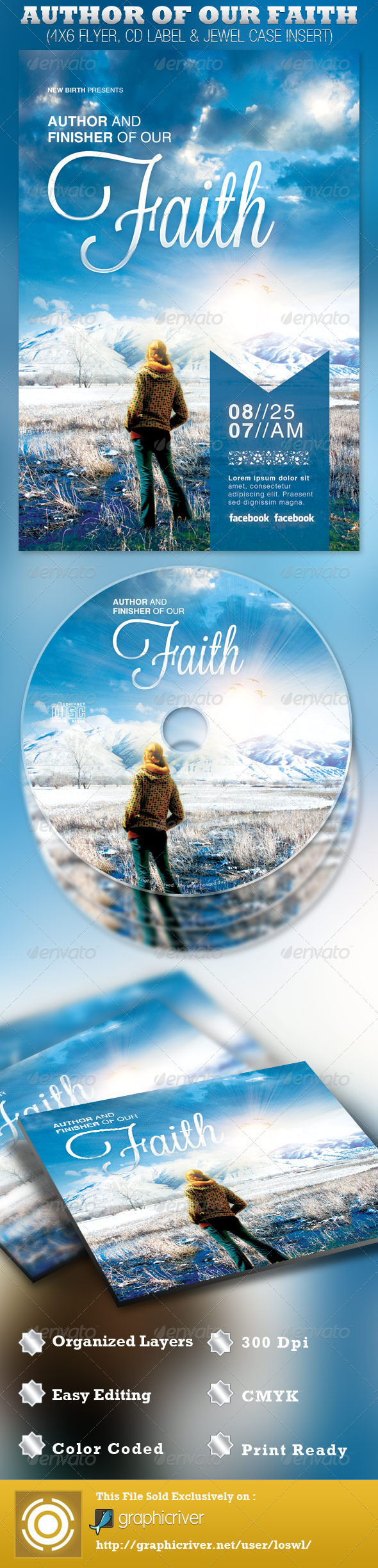 Author of Our Faith Church Flyer and CD Template - Church Flyers