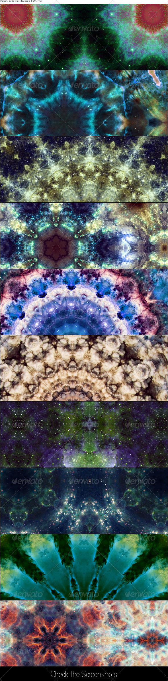 Psychedelic Kaleidoscope Pattens - Artistic Textures / Fills / Patterns
