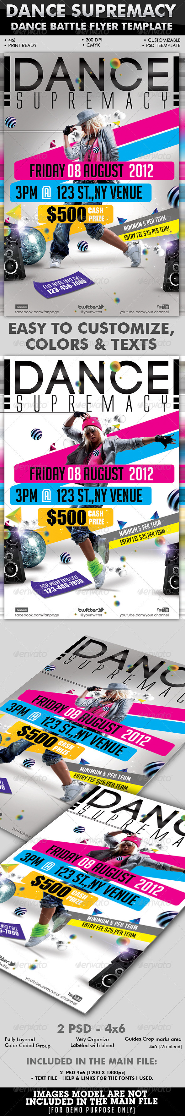 Dance Supremacy/Dance Battle Flyer Template - Clubs & Parties Events