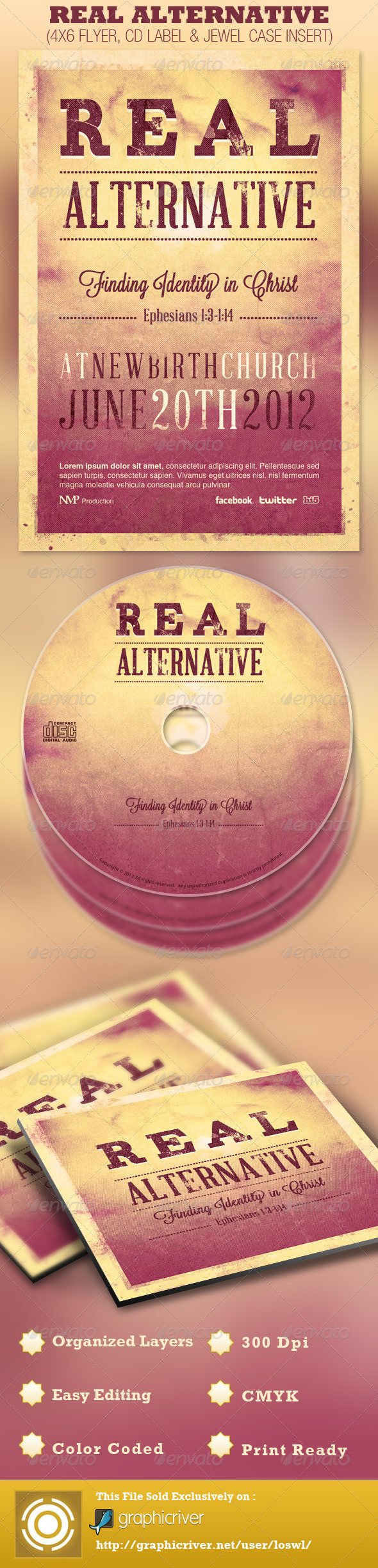 Real Alternative Flyer and CD Template - Church Flyers