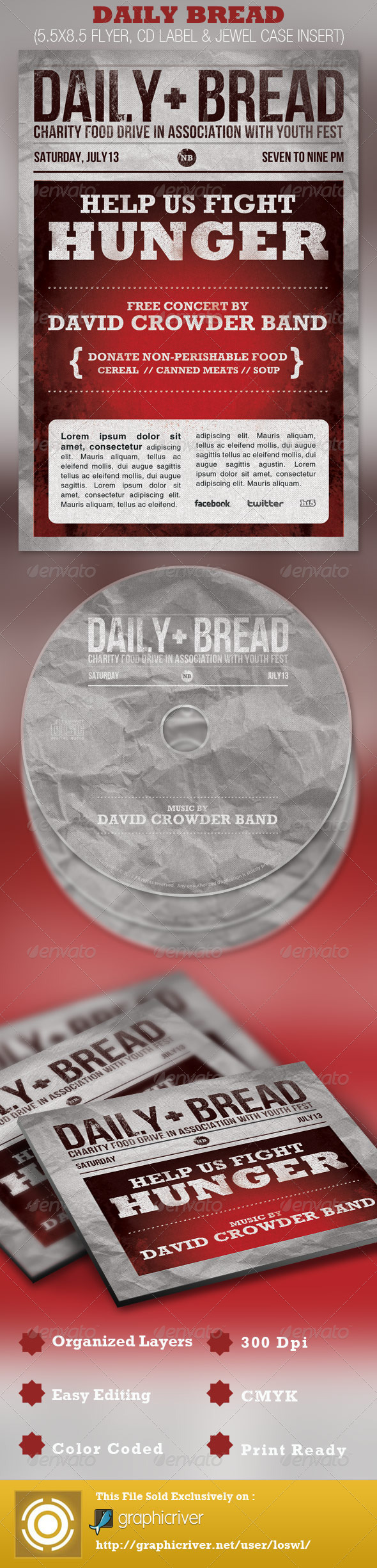 GraphicRiver Daily Bread Church Flyer and CD Template 2439990