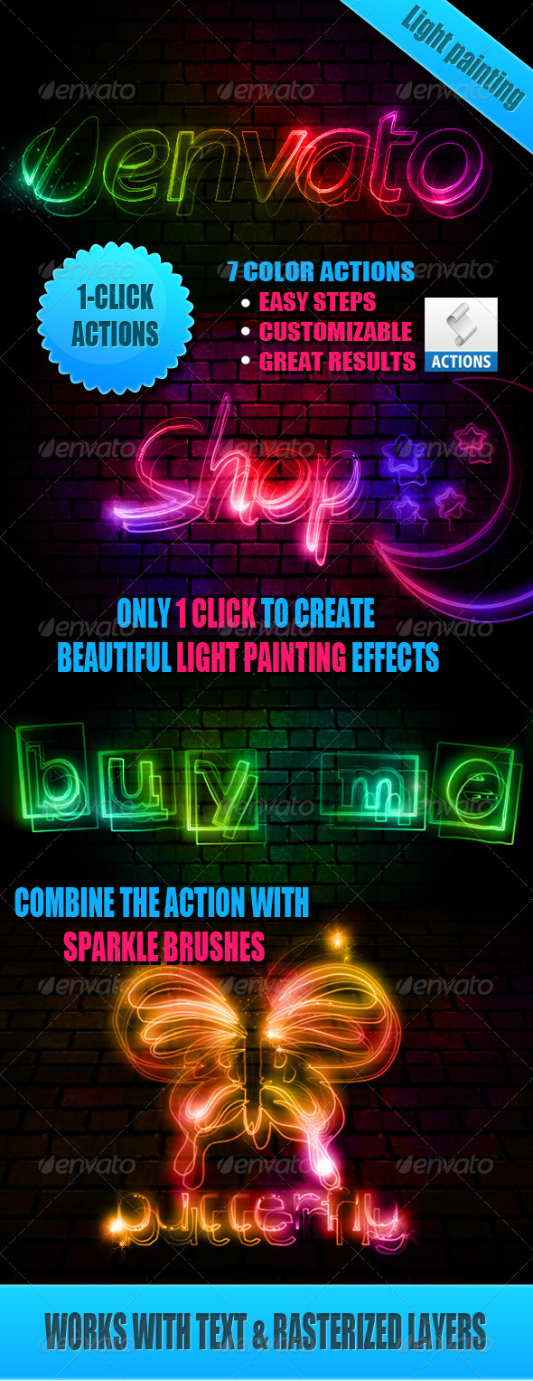 GraphicRiver Light Painting Effect Photoshop Actions 2739503