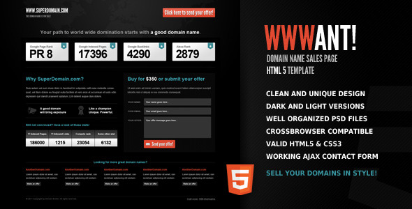 WWWant! - Domain Sales Landing Page HTML Template