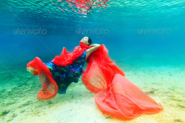 Woman underwater - Stock Photo - Images