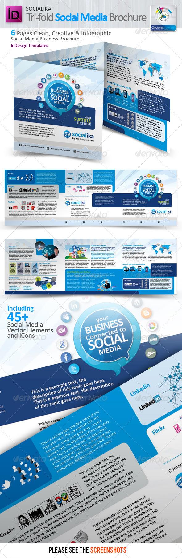 Socialika Tri-fold Social Media Brochure - Corporate Brochures