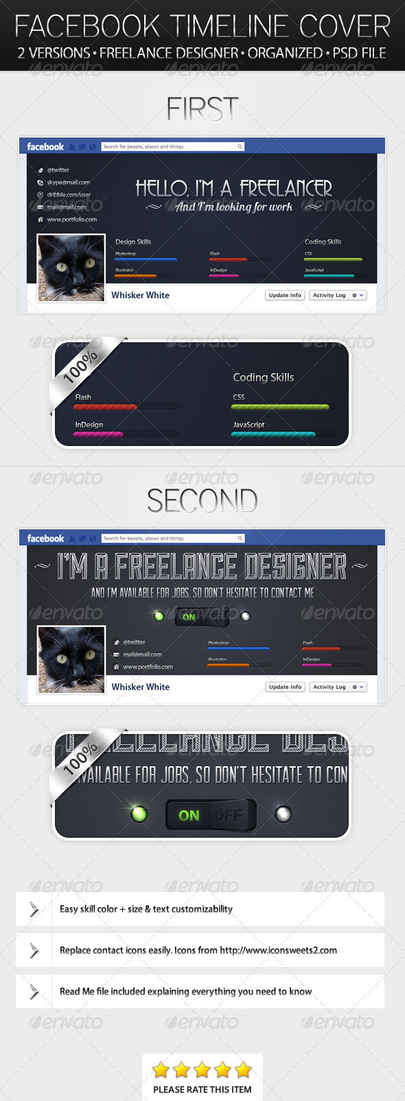 Two Freelance Designer Timeline Covers - Facebook Timeline Covers Social Media