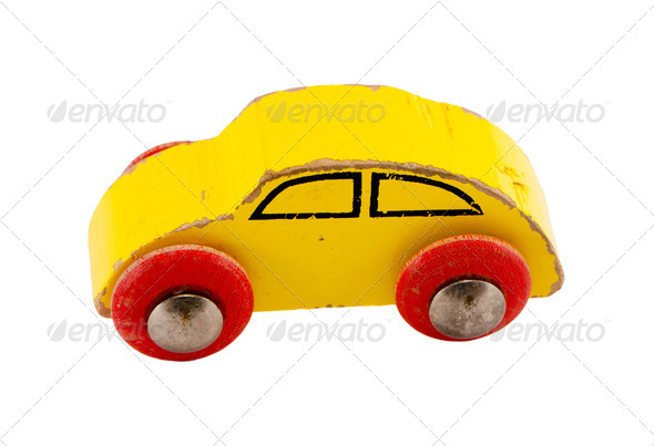 Wooden yellow retro toy car isolated on white - Stock Photo - Images