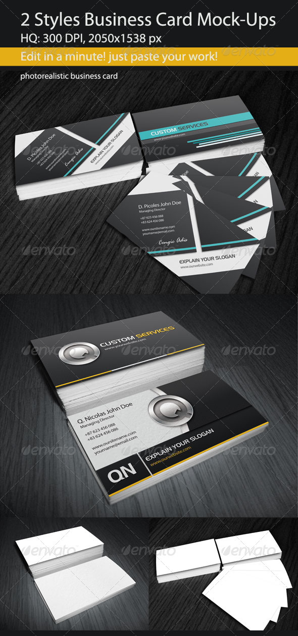2 Styles Business Card Mock-Ups - Business Cards Print