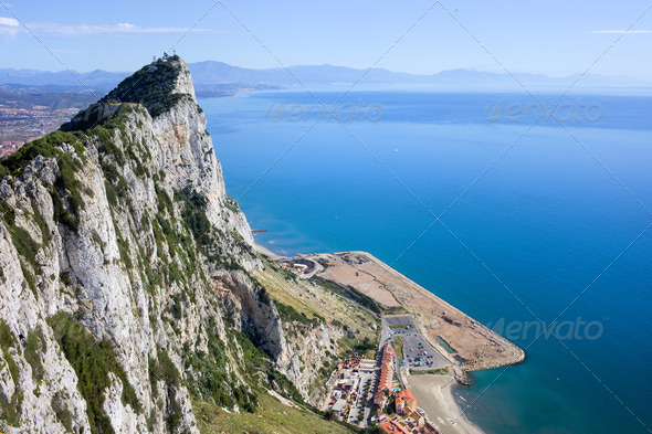 Gibraltar Rock by the Mediterranean Sea - Stock Photo - Images