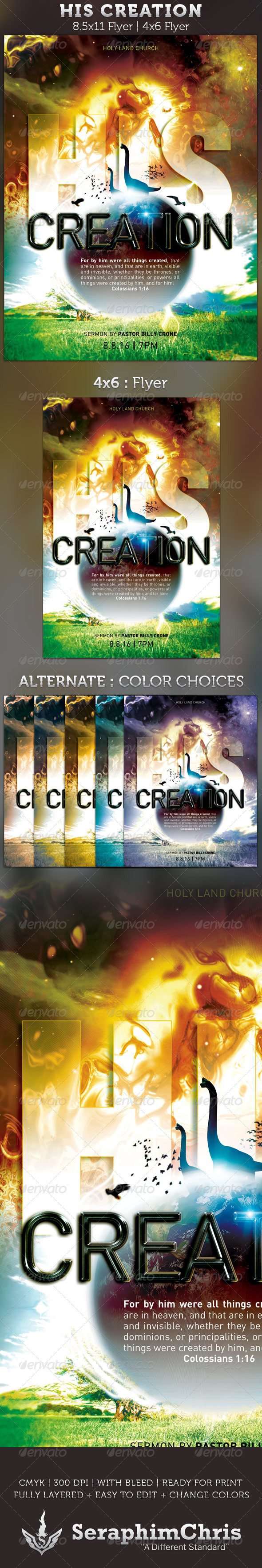 GraphicRiver His Creation Church Flyer template 2746426
