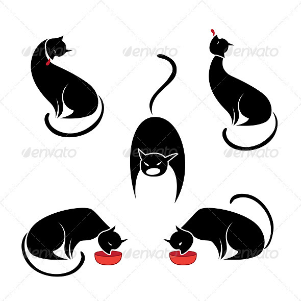 Big set of the black cats.  - Animals Characters